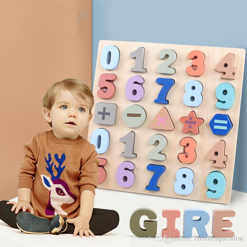Digital Early Educational Jigsaw Baby Toys Wooden Puzzle Hand Grab Board