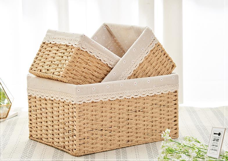 Puramente caja de almacenamiento de la cesta de tejer caja de almacenamiento de artículos varios dormitorios cesta de almacenamiento de ropa sucia cesta de juguetes tejidos a mano bocadillos