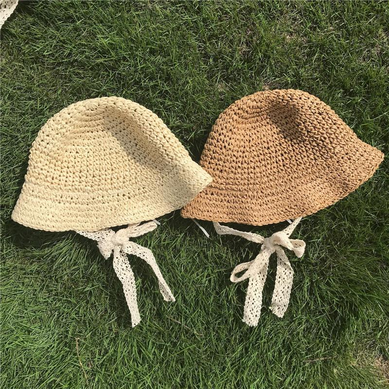 Fashion Baby Kids Straw Hats Cute Girls Hand Made Sun Kids Straw Big Wing Visor Cap Foldable Breathable Summer Parent-child Beach Hats Gifts