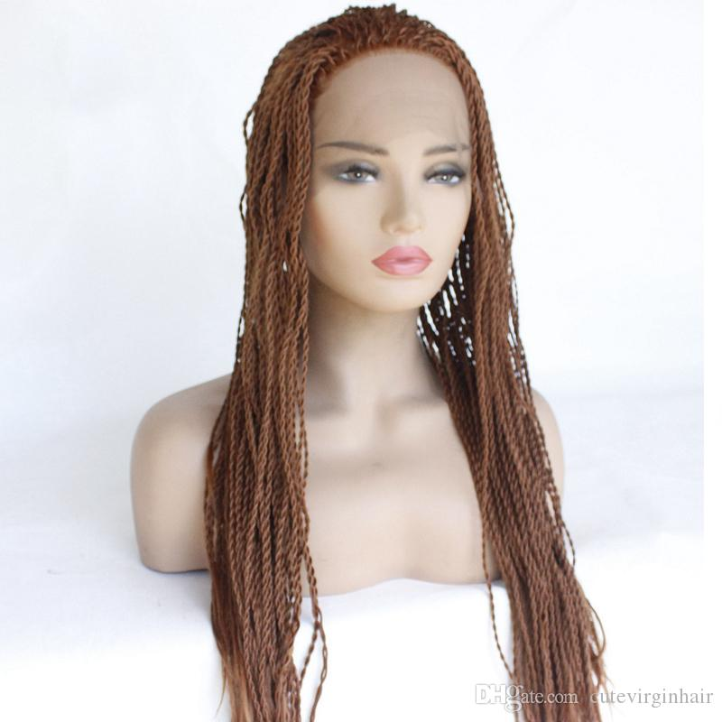 #30 African American Woman Hand Knoted-Braided Lace Hair Wigs Heat Resistant Synthetic Hair Box Braid Lace Front Wigs