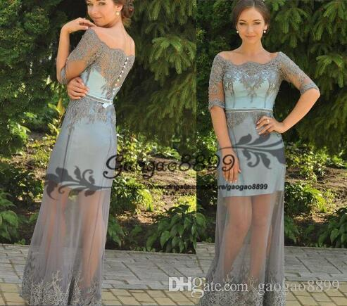 2019 sexy illusion Prom dresses with tulle overskirt elegant lace applique cap sleeve long custom made cheap formal evening party gowns wear