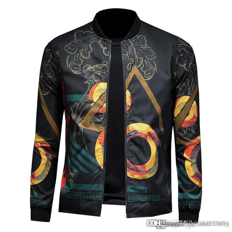 19ss homens s designer de roupas jaquetas Brasão Outono de homens caem Imprimir Marca Vestuário Plus S Magro manga comprida Casacos de alta qualidade Moda