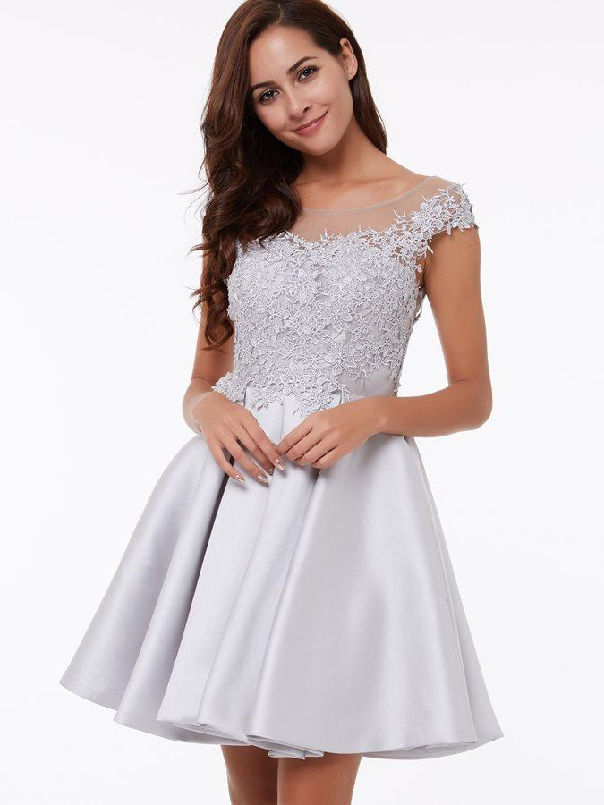 Silver Gray Homecoming Dresses Junior Short Lace Appliques Prom Evening Dress Lovely Short A-Line Party Dress