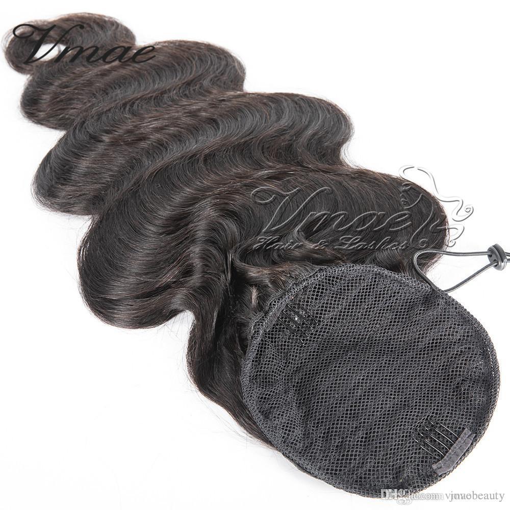 Brazilian Natural Black Virgin Drawstring Ponytail Horsetail 14 To 30 Inch Weave Straight Body Wave Real Human Hair Ponytail