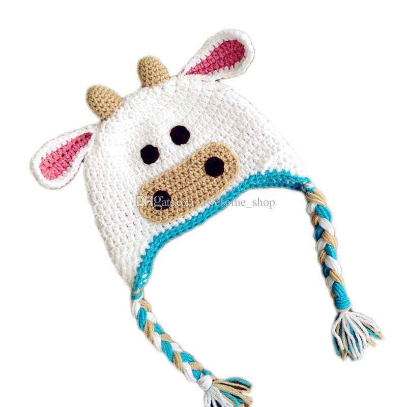 Lovely Knit Baby Little Cow Hat,Handmade Crochet Baby Boy Girl Animal Earflap Hat,Infant Spring Winter Cap,Newborn Funny Photo Prop