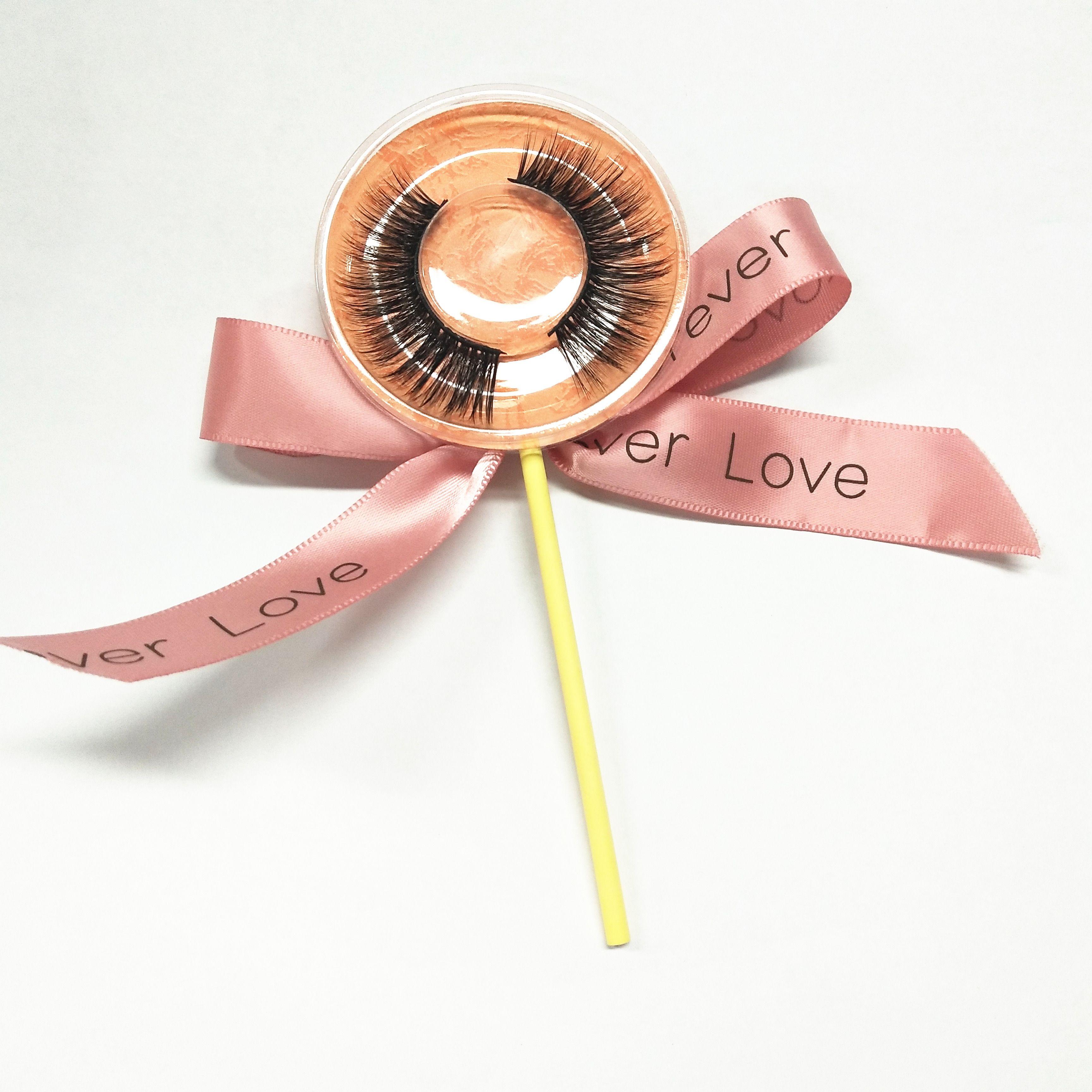 Lollipop Box 100% 3D Visone trucco Croce ciglia finte Eye Lashes Extension Handmade ciglia naturali Spedizione gratuita
