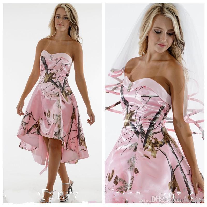 Beautiful Sweetheart High Low Pink Camo corto damigella d'onore vestito a buon mercato Slim Vestidos de Damigella d'onore Abiti da festa personalizzati Maid of Honor