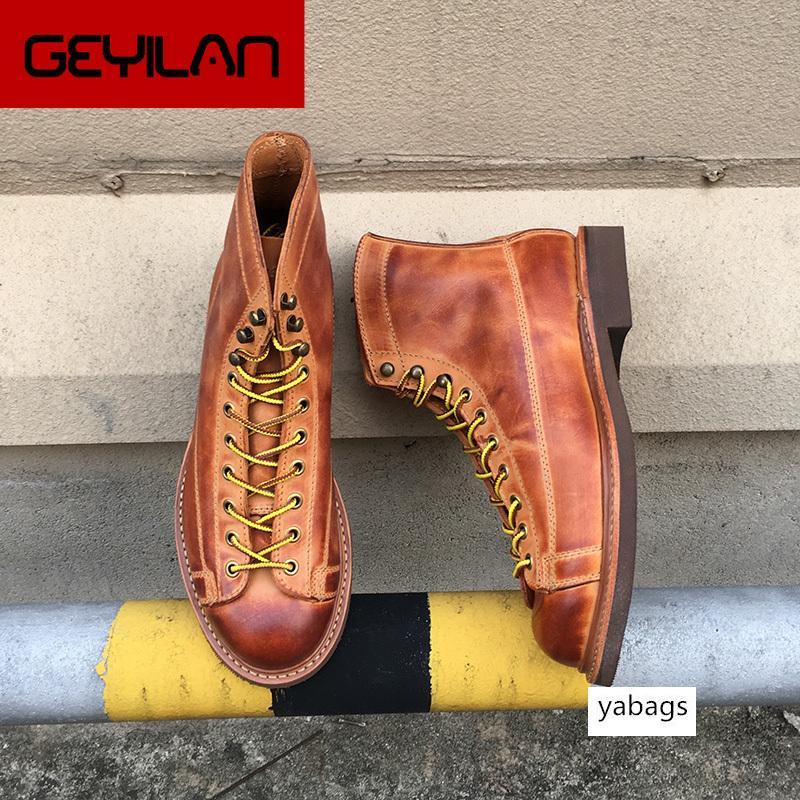 Sonbahar Kış Yeni Tasarımcı Vintage İnek Deri Erkek Ayakkabı Goodyear welted Elbise Erkekler Bilek Boots Çalışma Motosiklet Boots