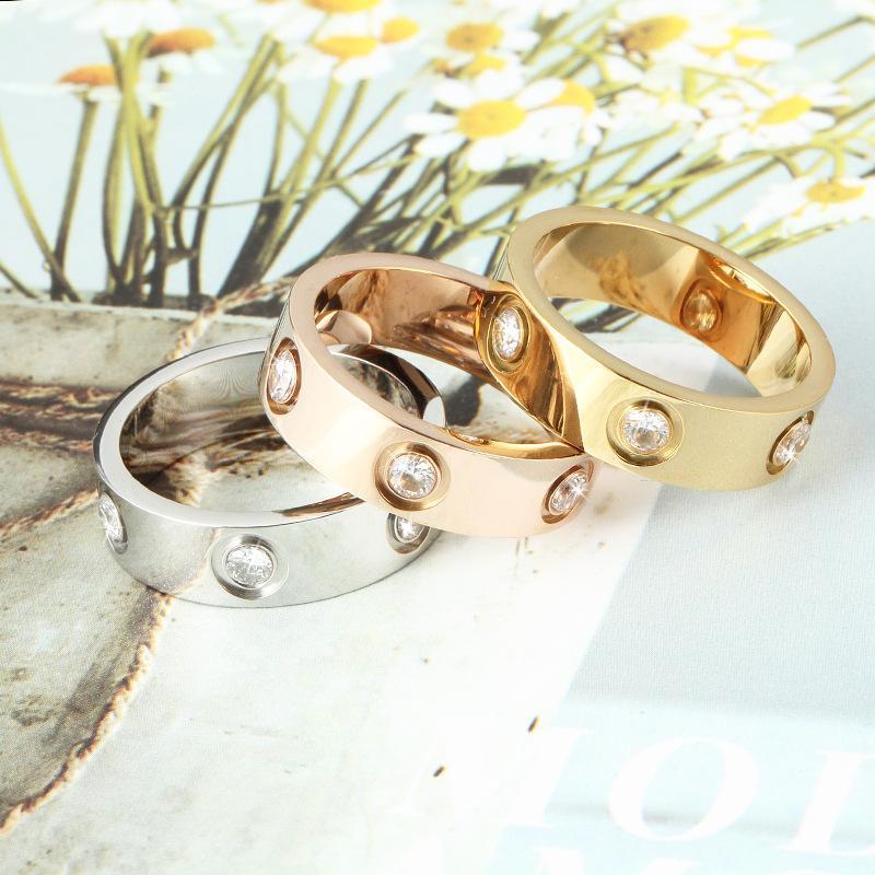 4mm 5mm 6mm in acciaio in acciaio in acciaio argento anello d'argento con sei uomini e donne anello in oro rosa per amanti anello coppia per regalo