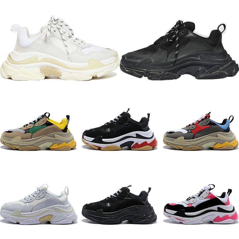 Новый 2020 обувь моды Париж 17FW Тройной тапки верхнего качества вскользь папа Mens женщин черный белый Спорт