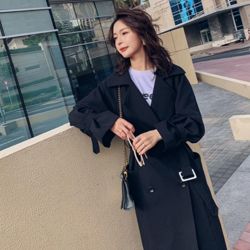 الربيع الكورية سترة واقية للنساء معاطف خندق طويل الصلبة أسود أنثى المتناثرة كبير جدا المعطف معطف واق من المطر 2019 السيدات