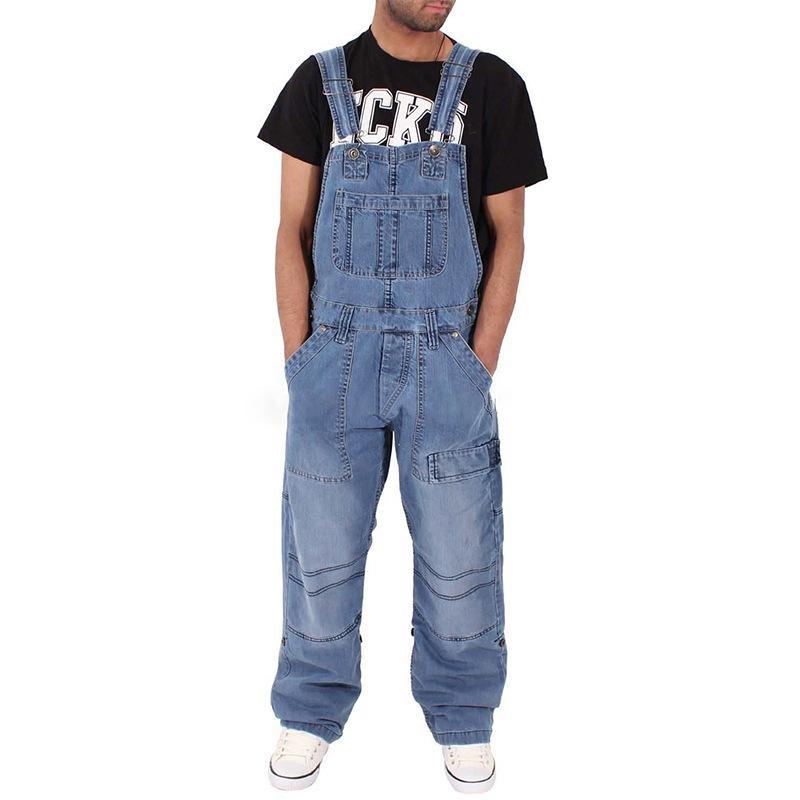 Mode Hommes Casual lâche Pocket Denim Jumpsuit Salopette Salopette 2020 Jeans Jeans desserrées Casual pantalons homme