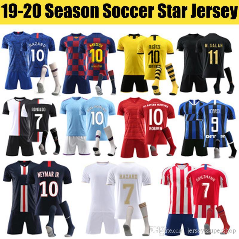 2019 20 FC Stern Herren- und Kinder-Jersey-Kit mit Socken Fußball Jersey Real Madrid-Fußball-Hemd
