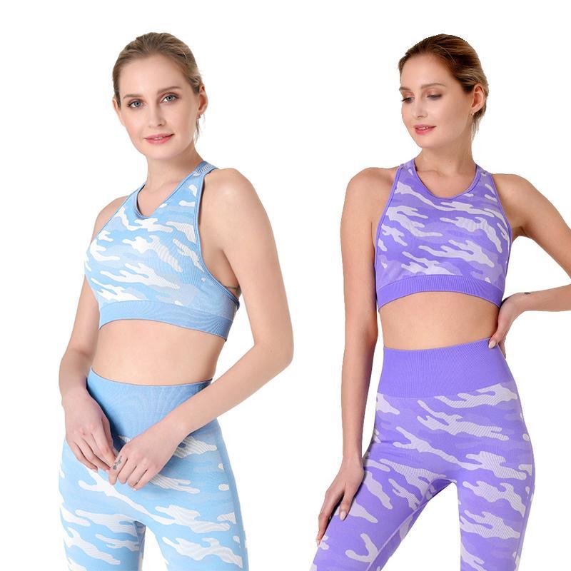 Trajes de yoga Conjunto sin costuras Mujeres Ropa deportiva Ropa deportiva Mujer Gimnasio Leggings Push-Up Sporty Sports Bra 2 PCS Trajes