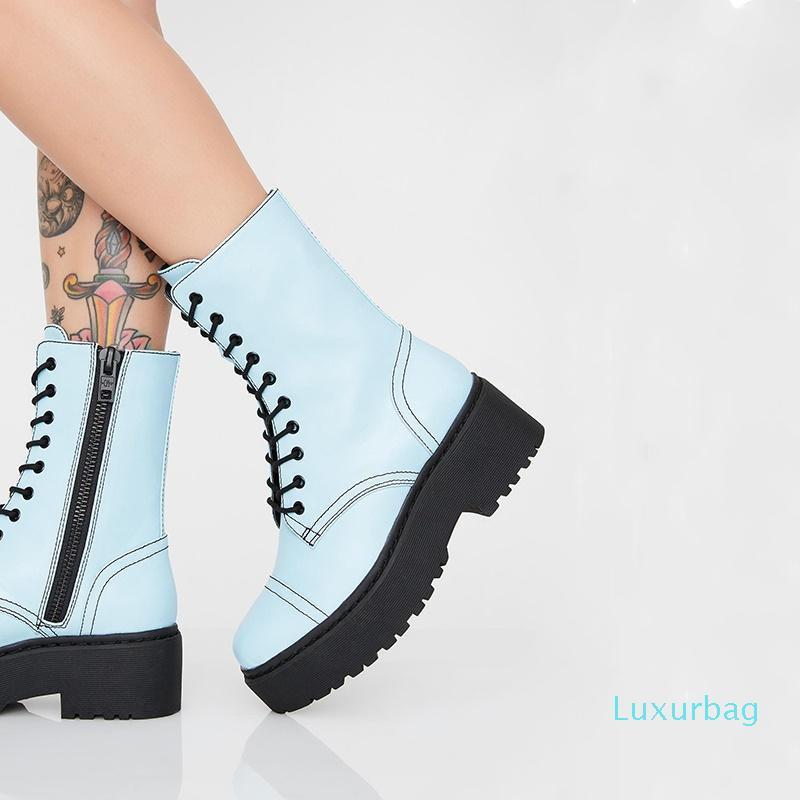 Hot Sale-2019 Herbst neuesten Mode Stiefeletten runde Zehe Quer gebunden Reißverschluss plus Größe Mitte Fersen platfrom Frauenschuh Versand fallen