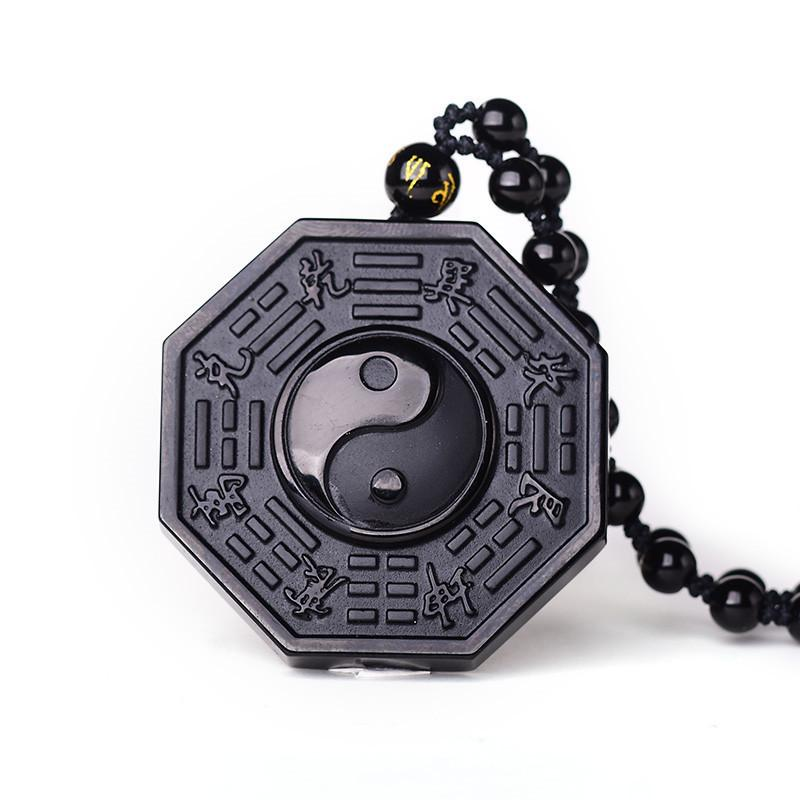 Drop Ship Black Obsidian Bagua Necklace Pendant Yin Yang Pendant Black Jade Pendant Jade Jewelry With Beads Chain