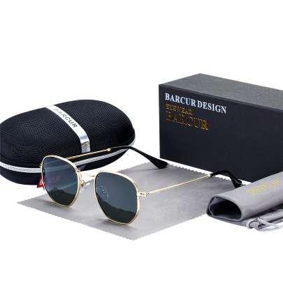 Clásico Retro Gafas de sol reflectantes Hombre BC3548 Gafas hexagonales Gafas de sol con montura metálica Gafas de sol con caja Gafas de sol gafas
