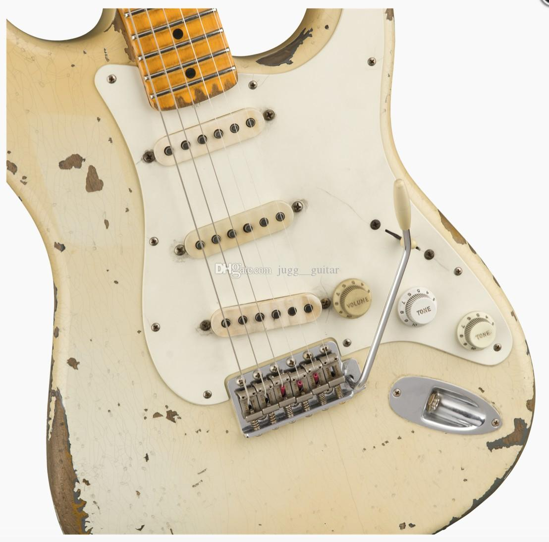 NAMM 10s Custom Shop Masterbuilt John Cruz Limited Edition Jimmie Vaughan Aged Olympic White ST lourd Relic Guitare électrique Vintage Tuners