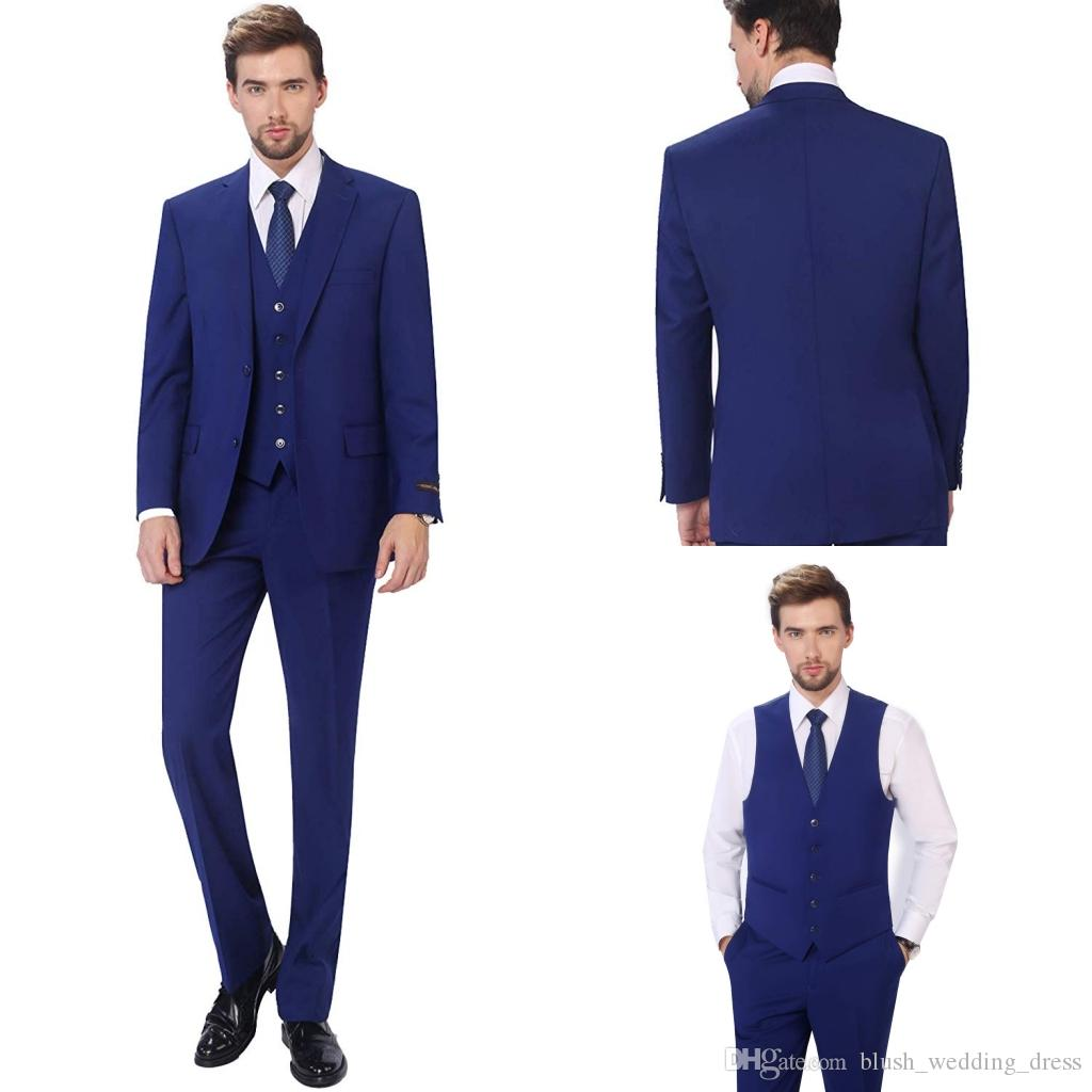 2020 New Arrivals Two Buttons Royal Blue Groom Tuxedos Peak Lapel Groomsmen Best Man Suits Mens Wedding Suits (Jacket+Pants+Vest+Bow tie)