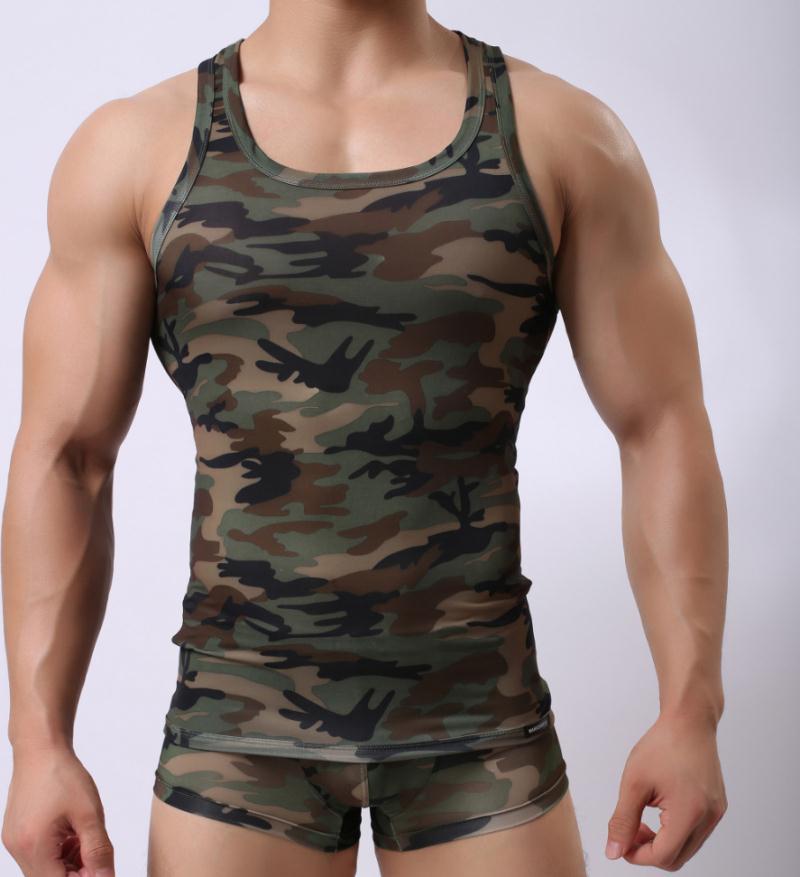 Tank üst erkekler Vücut Erkekler Tank I şeklinde yelek seksi dış ticaret adamları şekillendirme yelek İç Çamaşırı Erkek Yelek moda baskı kamuflaj Tops