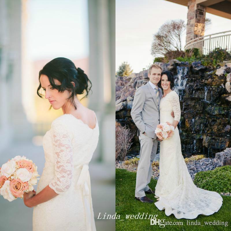 2019 jardin sirène dentelle dentelle robe de mariée élégante manches demi-manches femmes robe de soirée de mariée Plus Taille Vestido de Noiva