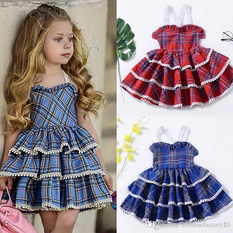 Meninas do bebê vestido bolha em camadas vestido grade sem encosto rendas ins dress algodão outono natal borla saia