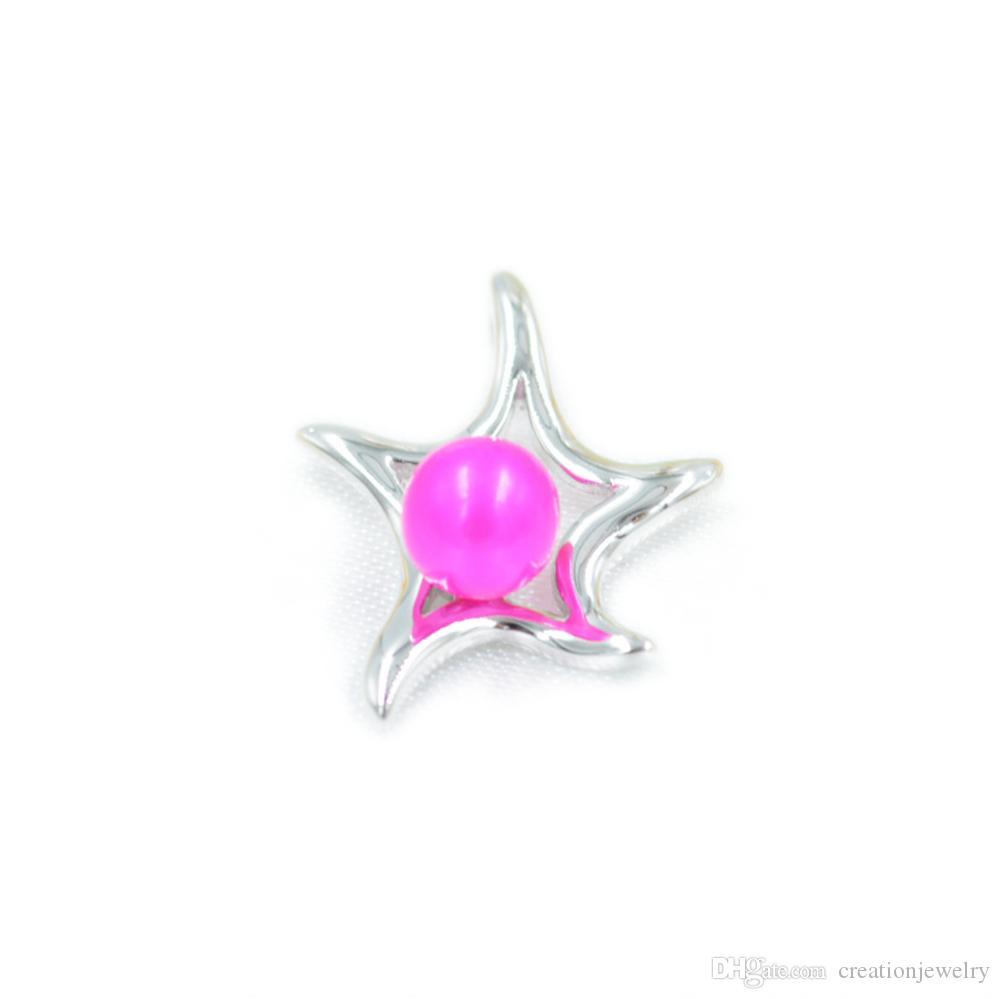 Şık Denizyıldızı İnci kolye kolye Ayar Montaj Tabanı% 100 Katı 925 Gümüş Yarı Dağı Kadın Takı DIY Bulguları DZ040
