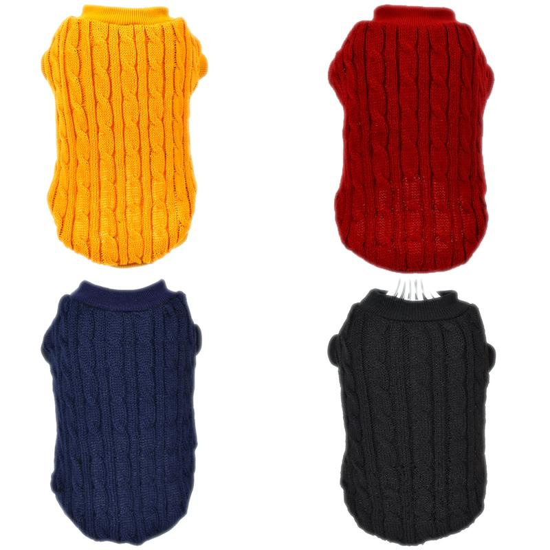 Winter Solid Dog Clothes Warm Puppy Christmas Sweater For Small Dogs Cat Pet Clothing Coat Knitting Crochet Cloth Jersey Perro