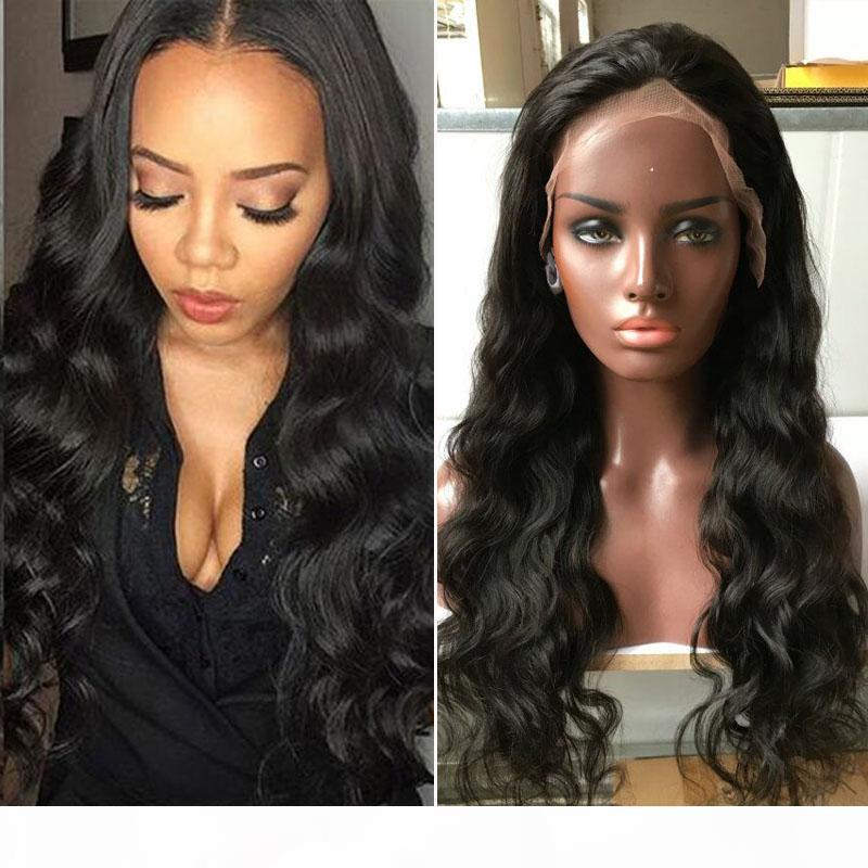 Полные парики человеческих волос шнурка для чернокожих женщин бразильский фронт шнурка человеческих волос парики тела волны