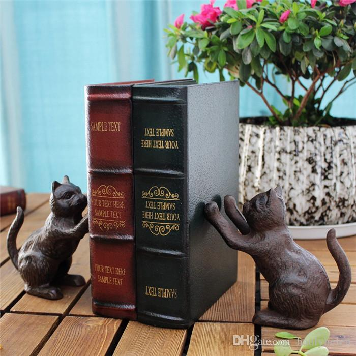 Pair of Vintage Cast Iron Book Ends Bookend Rustic Brown Cats Book Stand Table Desk Study Home Office Decoration Vintage Antique Animal