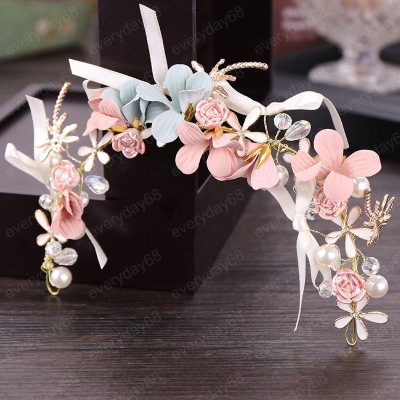 Perlen-Kristall Rosa Blumen-Brautstirnband Hairband Frauen Diadem Kopfstück Hochzeit Noiva Crown Brauthaar Schmuck Accessoires