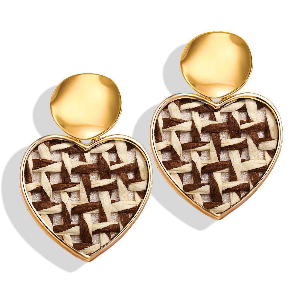 Ювелирные изделия нового способа Творческих ретро Простых пришивания соломы сплетенных серьги шпилька для женщин Круглого персика сердца серьги