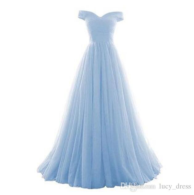 2019 Off-Shoudler Tulle Long Country Bridesmaid Dresses With Ruffles Lace-up Back Boho Wedding Guest Dress Maid Of Honor Dresses