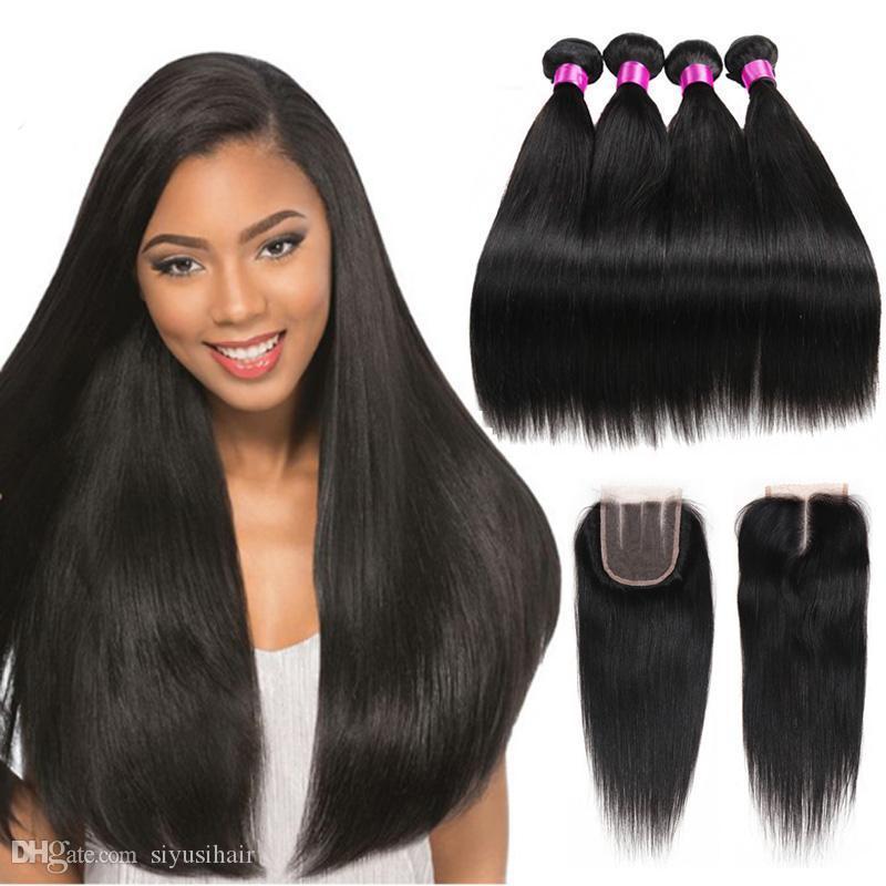 Peru Malezyalı Moğol Hint Brezilyalı Virgin Düz saç örgüleri 3 4 Paketler ile Kapatma 9A İnsan Saç Paketi ile Dantel Kapanış