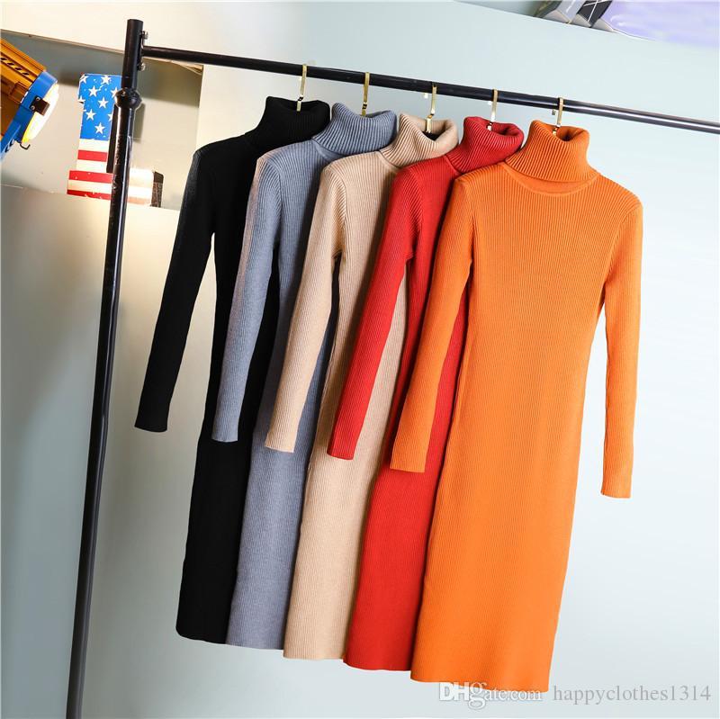 Yeni Stil Kış Turtleneck Örme Elbise Kadın İlkbahar Sıcak İnce Kazak Elbise Büro İş Lady Örme BODYCON Kalem Elbise