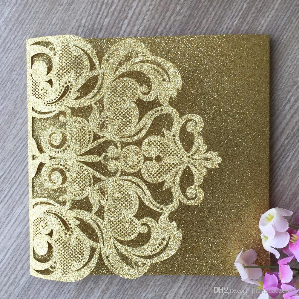 50PCS /lot Hollow Laser Cut Glitter Paper Luxury Wedding Invitation Cards Exquisite Figure Design Apply To Anything Events