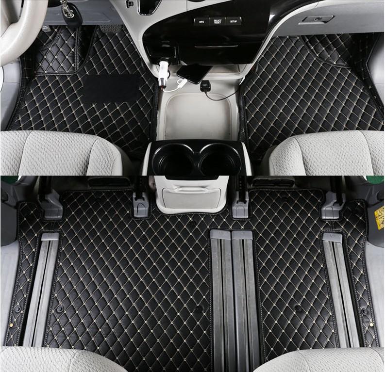 Autofussmatten Fuss Teppiche Auto Step-Matte für SIENNA 2011 12 13 14 15 16 2017 2018 Qualitäts-Stickerei Leder Mat