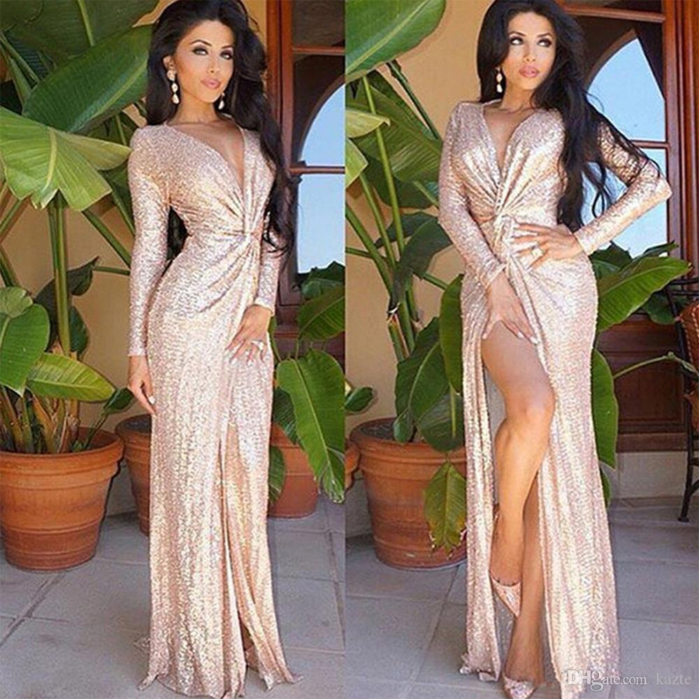 Sexy V Neck Sheath Split Evening Dresses rose gold Sequined Dresses Famous Long Sleeves Party Prom Gowns Celebrity Red Carpet Dress