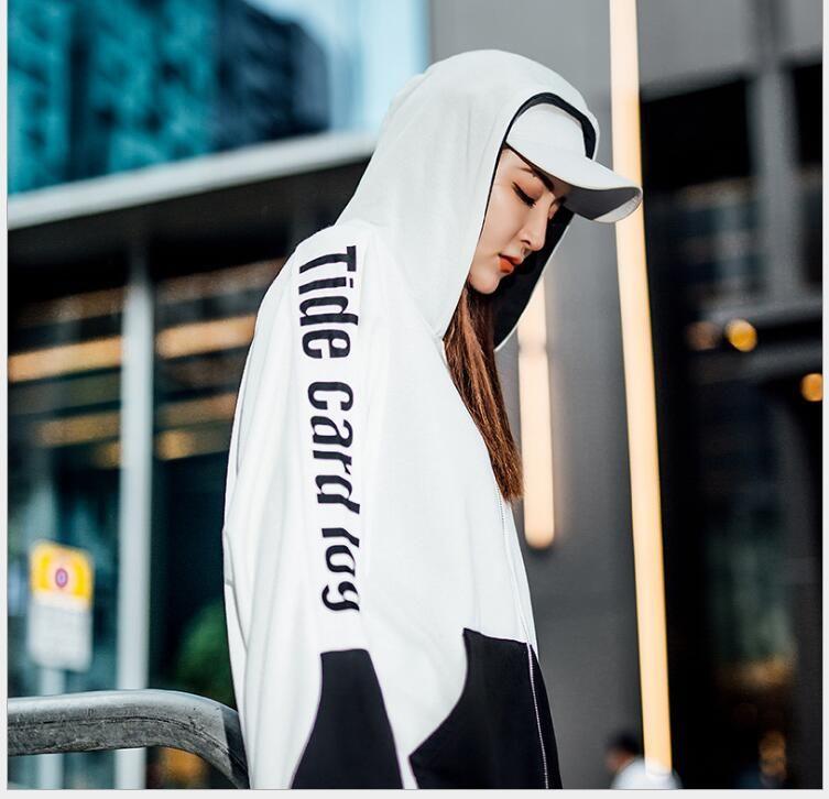 Sonbahar gelgit marka kapüşonlu ceket hırka sokak hip hop sokak dansı gevşek kazak