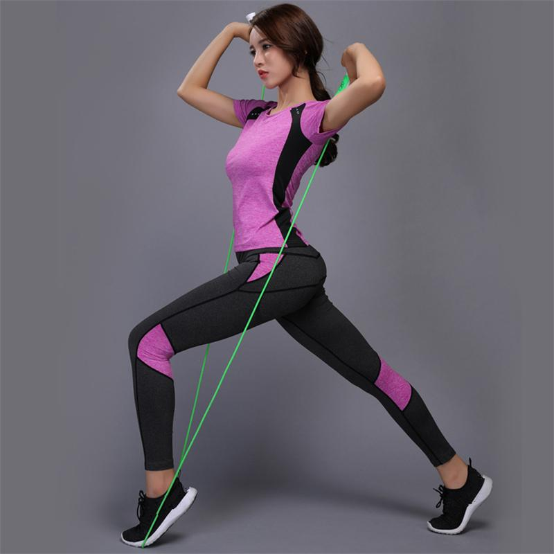 Women Yoga Set Gym Sexy Fitness Clothes Tennis Shirt+pants Running Tight Jogging Workout Yoga Leggings Sport Suit