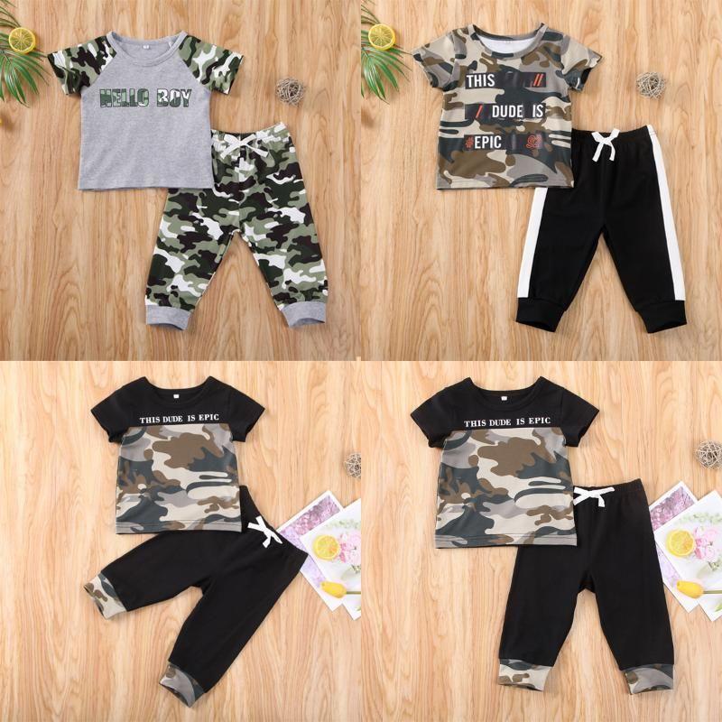 Boy Giyim 2020 Bebek Bebek Spor Giyim Kısa Kollu T-shirt Tops + Kamuflaj Pantolon Tayt 2adet Kıyafetler Seti