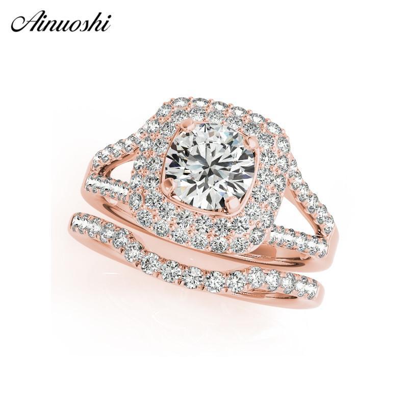 AINUOSHI Argent 925 femmes Bague couleur or rose anneaux ronds Ensembles Bijoux anillo de compromiso anniversaire argent cadeau Y200107