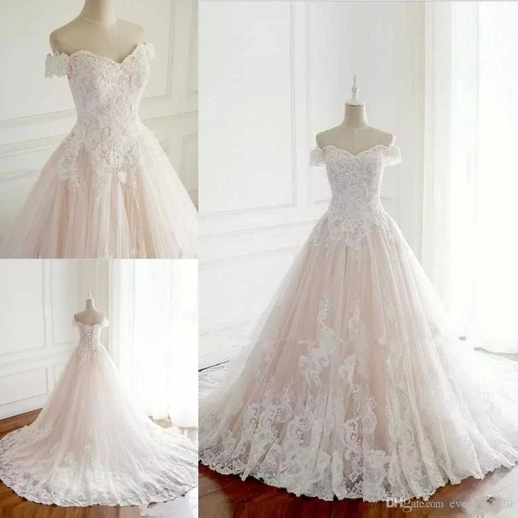 Custom Made A-Line Wedding Dresses Off-Shoulder Lace Appliques Lace-up Back Simple Bridal Dresses Reasonable Price Wedding Gowns