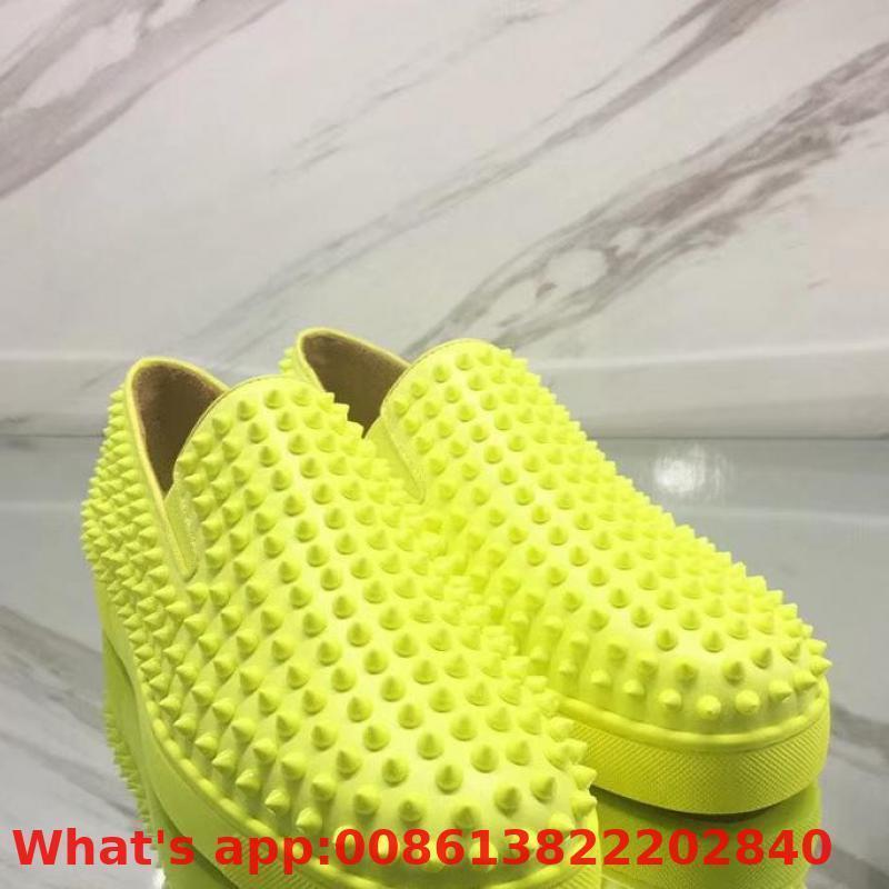 Escotado libre con cordones amarillo fluorescente remache inferiores del rojo para hombre zapatillas de deporte de los calzados informales de cuero de los holgazanes planos
