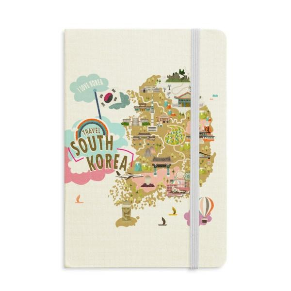 South Korea Map Love Travel Notebook Fabric Hard Cover Classic Journal Diary A5