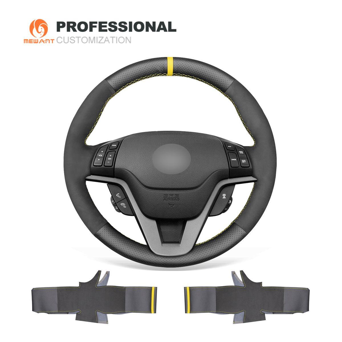 MEWANT Black Genuine Leather Black Suede Hand Sew Car Steering Wheel Cover for Honda CR-V CRV 2007 2008 2009 2010 2011