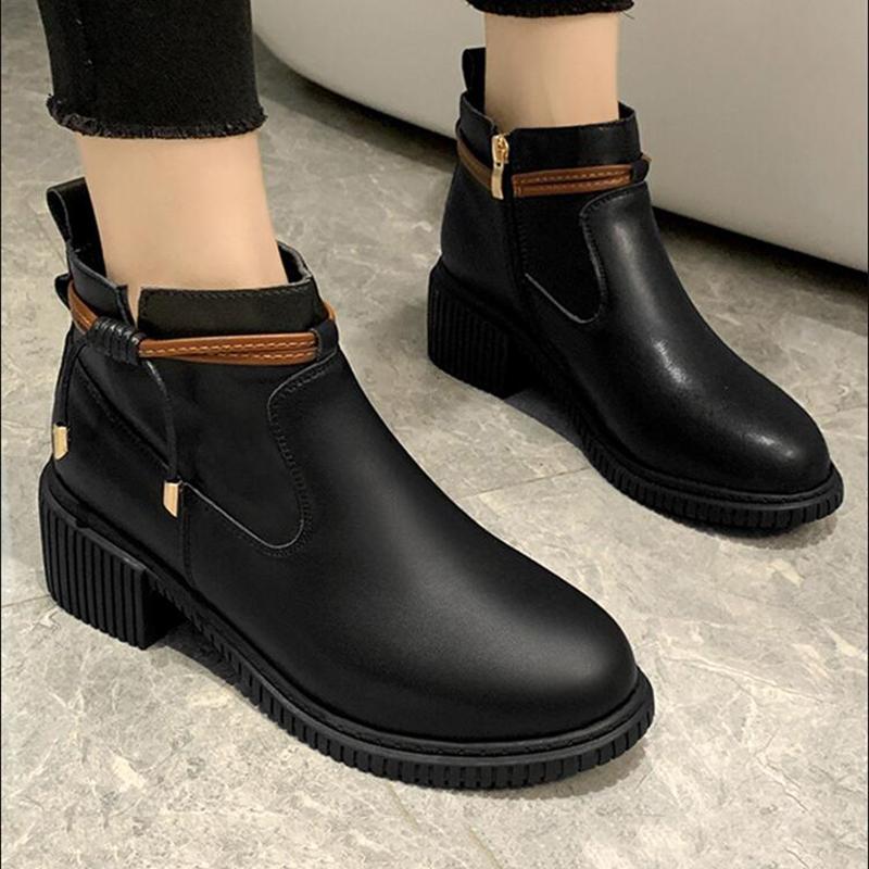 الشتاء الكاحل أحذية النساء أحذية أزياء المرأة PU قصيرة أحذية الجوارب الشتوية الجديدة قصير الشعر الفراء أحذية الدافئة