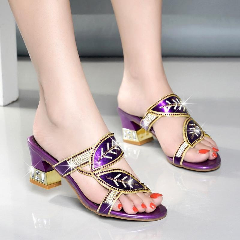 Hot Sale-2019 summer new thick with rhinestone slippers soft bottom with diamonds high-heeled type wearing women's sandals large size