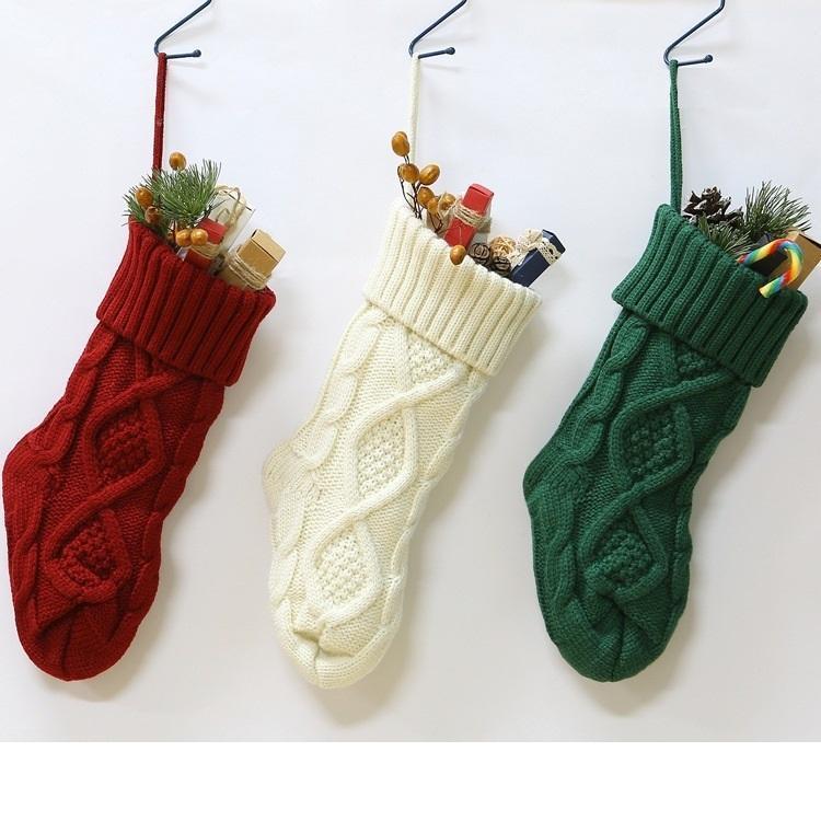 Árvore de Natal feita malha Stocking partido Home Criativo Natal 50pcs 37cm Hanging Decor doces do presente Storage Bag