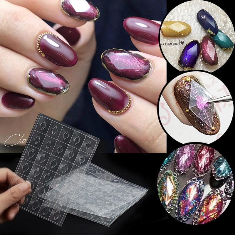 Cheap Stickers & Decals 1 Sheet Nail Gemstone Stencil Guides Mould Transparent 3d Hollow Stickers Diamonds Plastic Mold Flakes DIY UV Gel